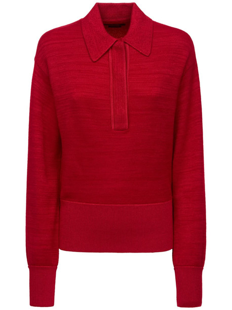ISABEL MARANT Heron Wool Knit Polo Sweater in red