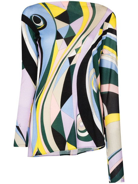 Emilio Pucci Occhi-print asymmetric long-sleeve top in yellow