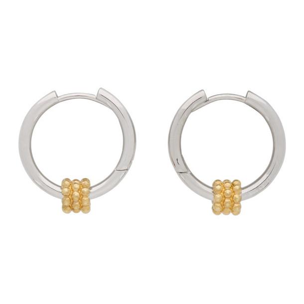 Avgvst Jewelry Silver and Gold Beaded Pendant Hoop Earrings