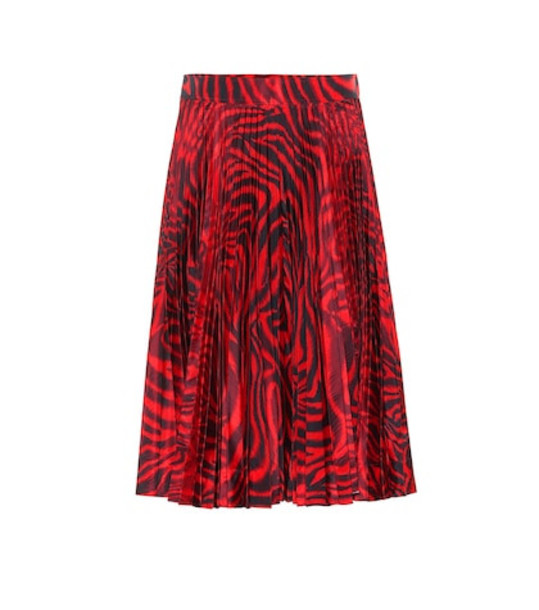 Calvin Klein 205W39NYC Printed silk-blend skirt in red