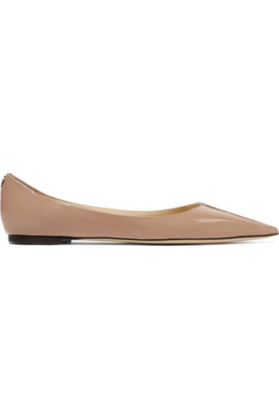 Jimmy Choo - Love Patent-leather Point-toe Flats - Antique rose