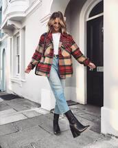 jeans,cropped jeans,high waisted jeans,black boots,heel boots,white t-shirt,jacket,plaid,belt,black bag,shoulder bag,shoes