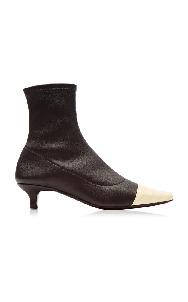 BY FAR Karl Two-Tone Stretch-Leather Ankle Boots Size: 35 in black