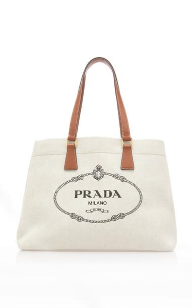 Prada Logo-Embroidered Canvas Tote Bag in white