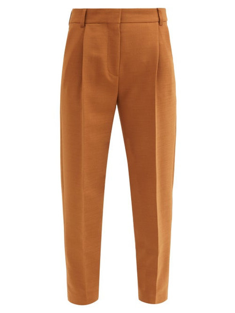 See By Chloé See By Chloé - City Cropped Pleated-rise Twill Trousers - Womens - Brown