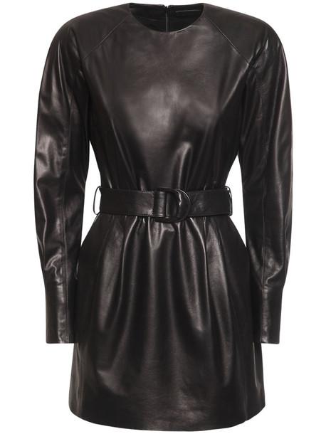 DROME Leather Mini Dress W/ Belt in black
