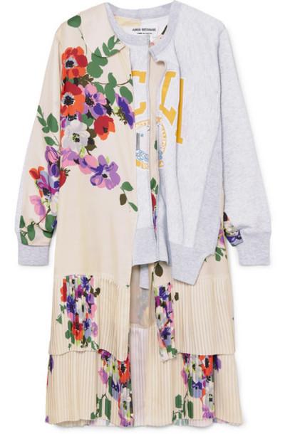 Junya Watanabe - Paneled Printed Stretch-cotton Jersey And Satin Top - Gray