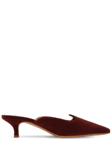 LE MONDE BERYL 30mm Velvet Kitten Heel Mules in brown