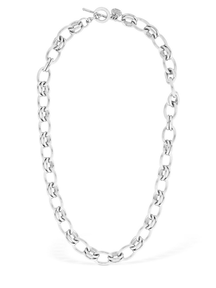 PHILIPPE AUDIBERT Byron Short Brass Chain Necklace in silver