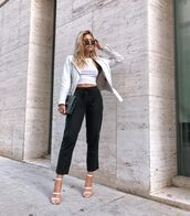 jacket,leather jacket,biker jacket,high waisted pants,straight pants,white sandals,black bag,white top