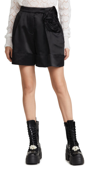 Simone Rocha Sculpted Shorts with Rose Flower Detail in black