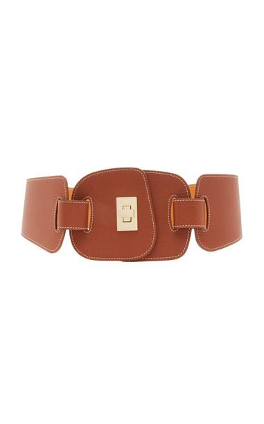 Maison Vaincourt Leather Waist Belt Size: 70 cm in brown