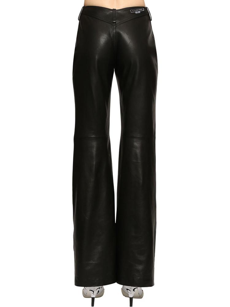 MARINE SERRE Straight Leg Faux Leather Pants in black