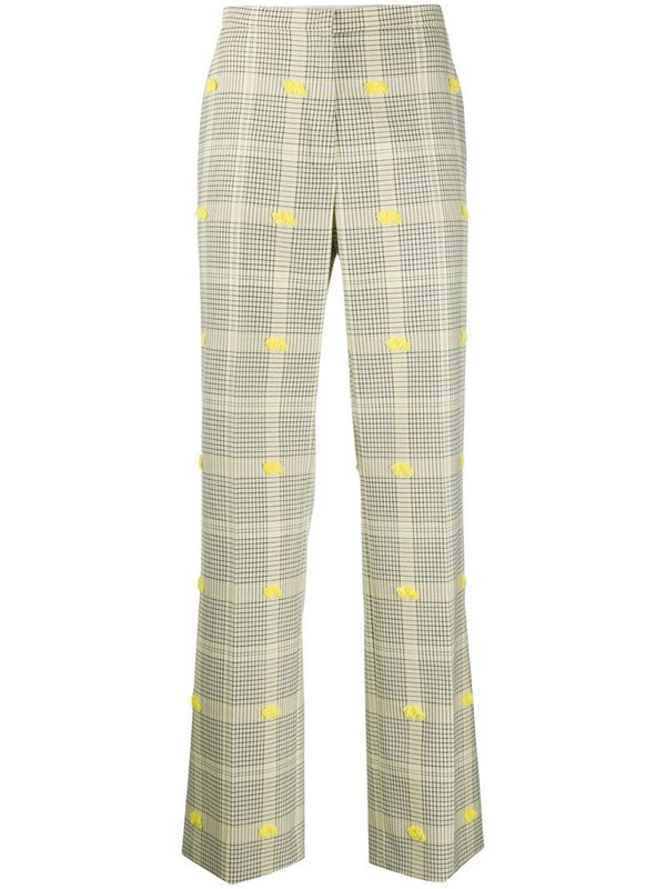 Nina Ricci frayed-detail check trousers in yellow