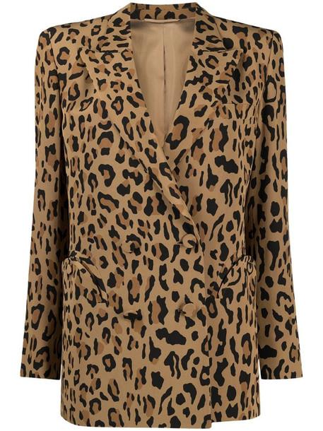 Blazé Milano leopard print boxy blazer in brown