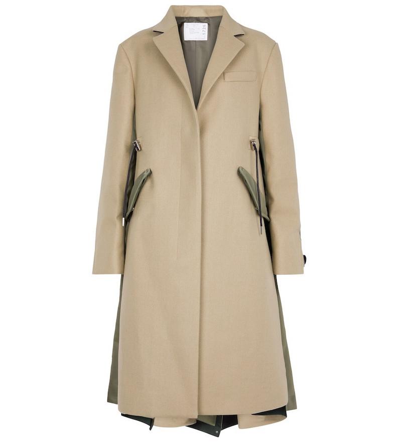 sacai Wool and nylon coat in green