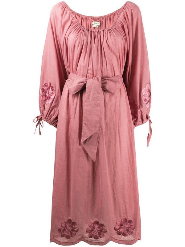 Innika Choo floral embroidered waist-tied dress in pink