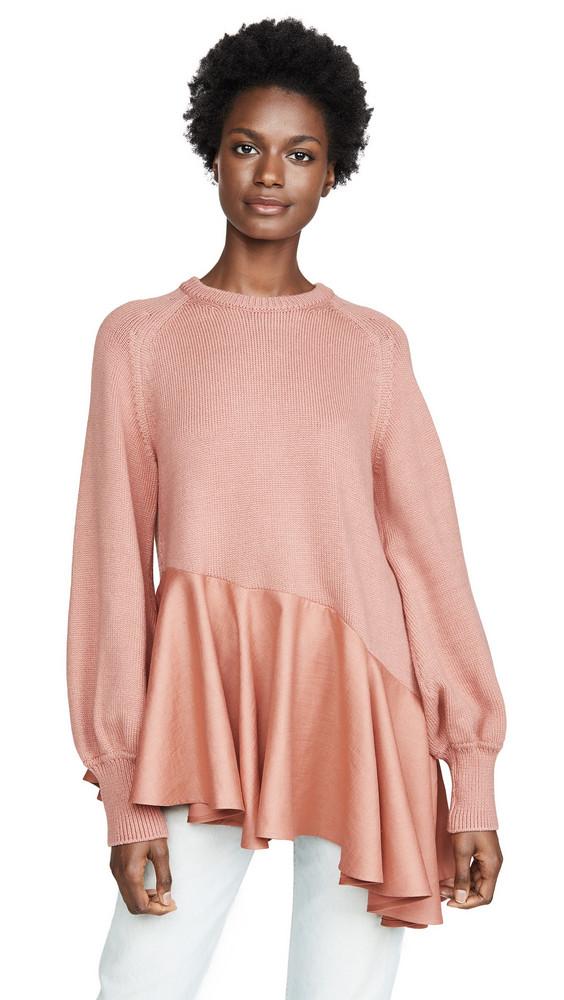 Adeam Asymmetrical Ruffle Sweater in peach