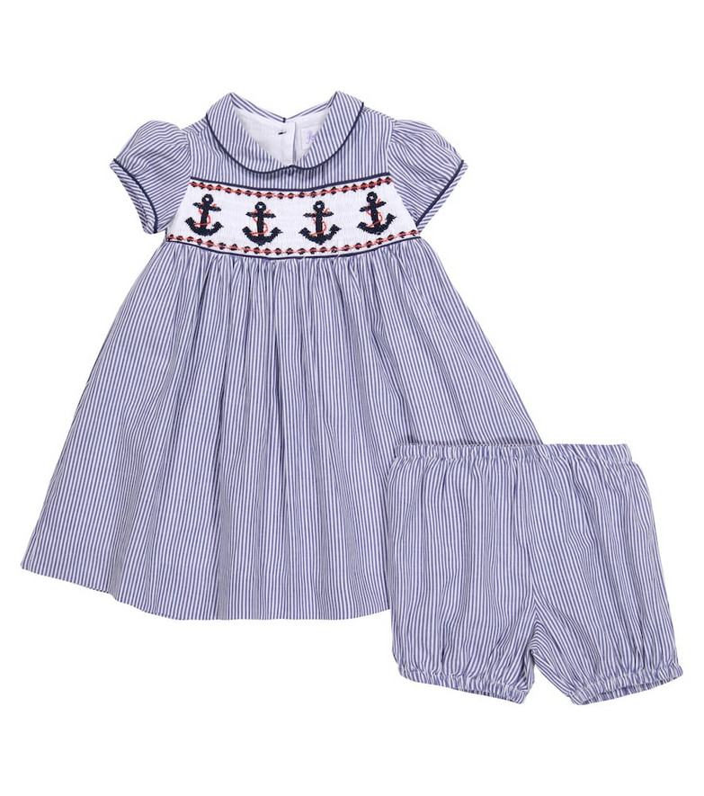 Rachel Riley Baby cotton dress and bloomers set in blue
