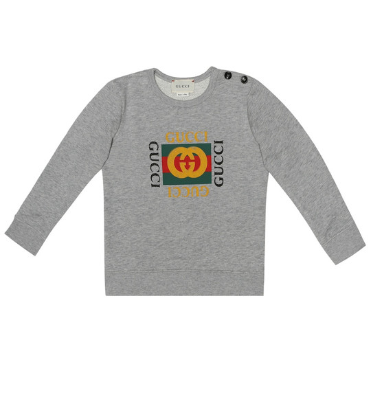 Gucci Kids Baby logo cotton sweatshirt in grey