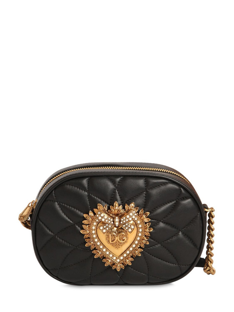 DOLCE & GABBANA Devotion Quilted Leather Camera Bag in black