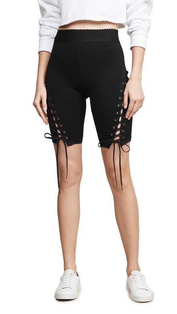 endless rose Lace Up Biker Shorts in black