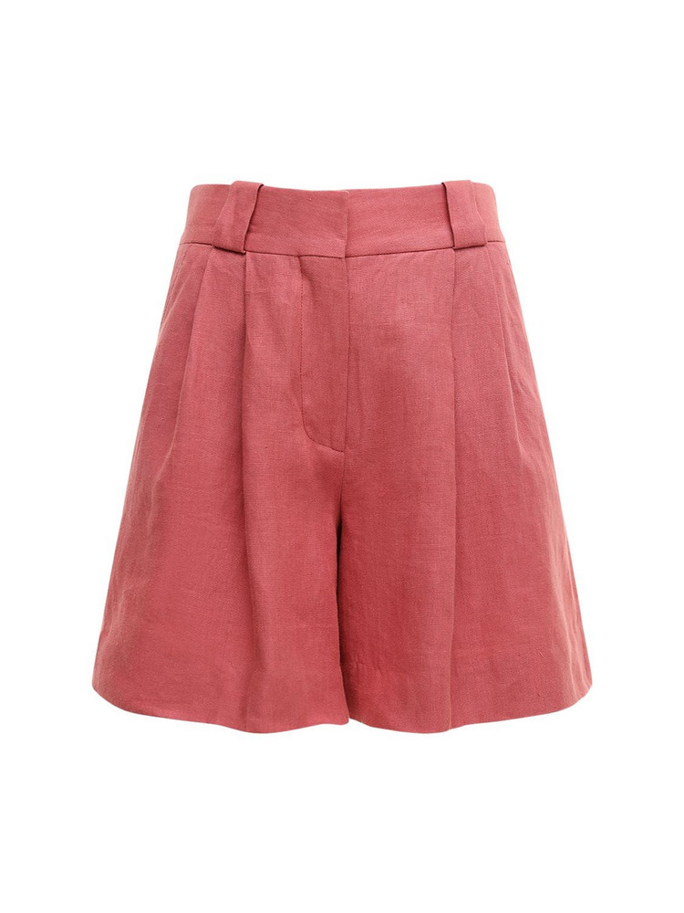BLAZÉ MILANO Midday Sun Linen Fell Shorts in pink