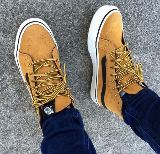 shoes, vans, sk8 hi vans mustard/black