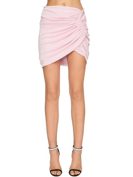 ALEXANDRE VAUTHIER Draped Rib Jersey Lamé Skirt in pink