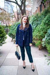 covering bases,curvy,blogger,sweater,pants,shoes,jewels,bag,chanel bag,blue jacket