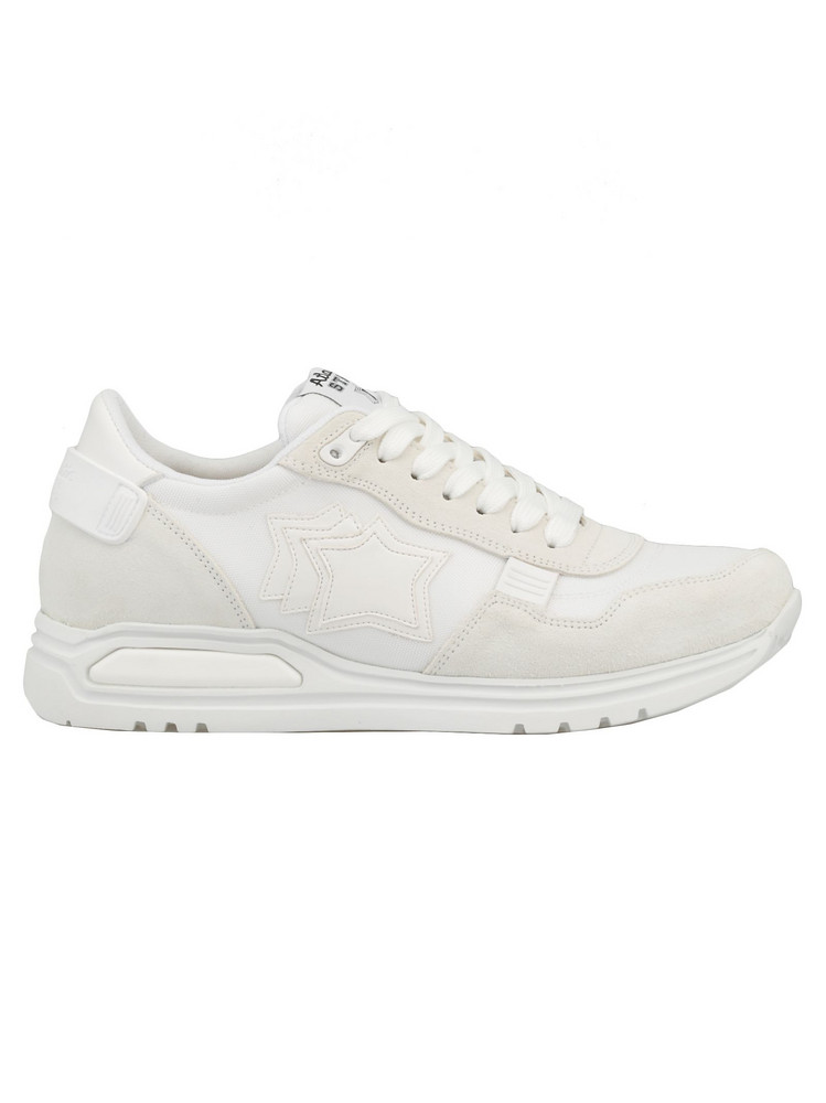 Atlantic Stars Leather And Tech Fabric Sneaker in white