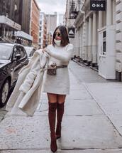 sweater,turtleneck sweater,white sweater,chunky knit,over the knee boots,high heels boots,brown boots,suede boots,white coat,teddy bear coat,snake print,belt bag