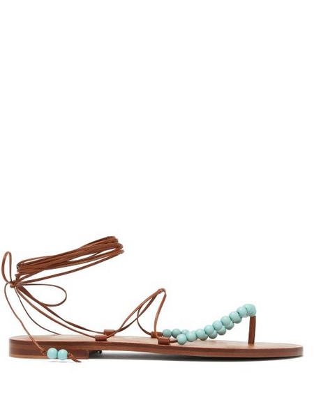 Álvaro Álvaro - X Kim Hersov Beaded Leather Sandals - Womens - Tan Multi