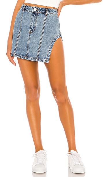 superdown Abby Slit Mini Skirt in blue
