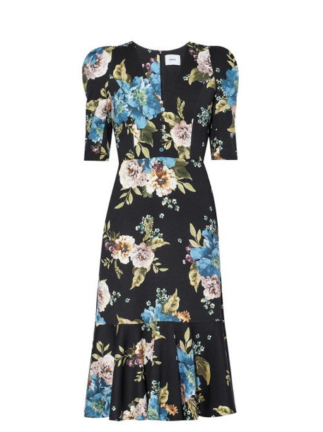 Erdem - Ottavia Carnation-print Jersey Dress - Womens - Black Print