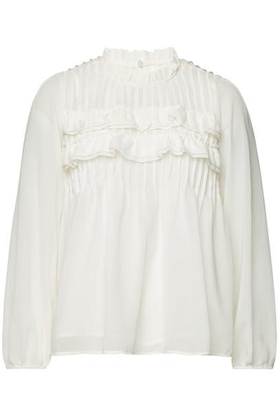 Velvet Jolie Semi-Sheer Blouse  in white