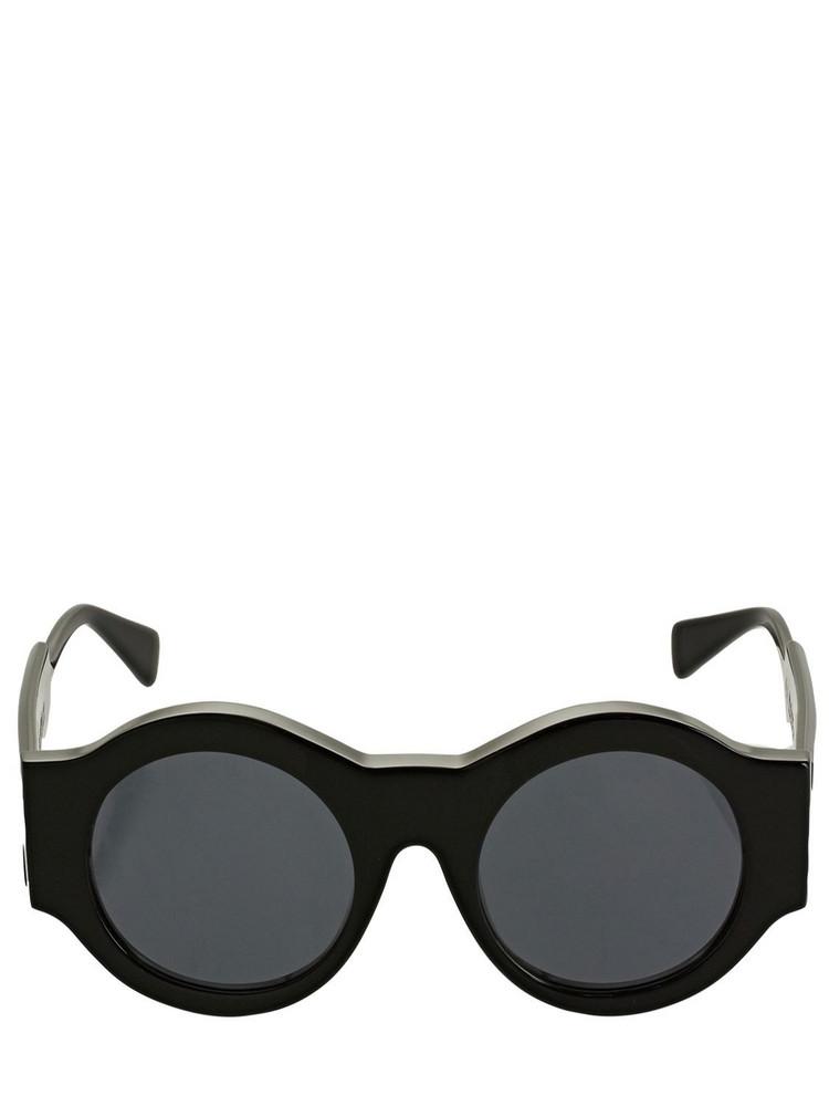 KUBORAUM BERLIN A5 Shine Frame Round Acetate Sunglasses in black / grey