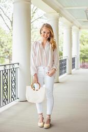 a lonestar state of southern,blogger,top,shoes,jewels,bag,jeans,handbag,spring outfits,summer outfits,white jeans,espadrilles