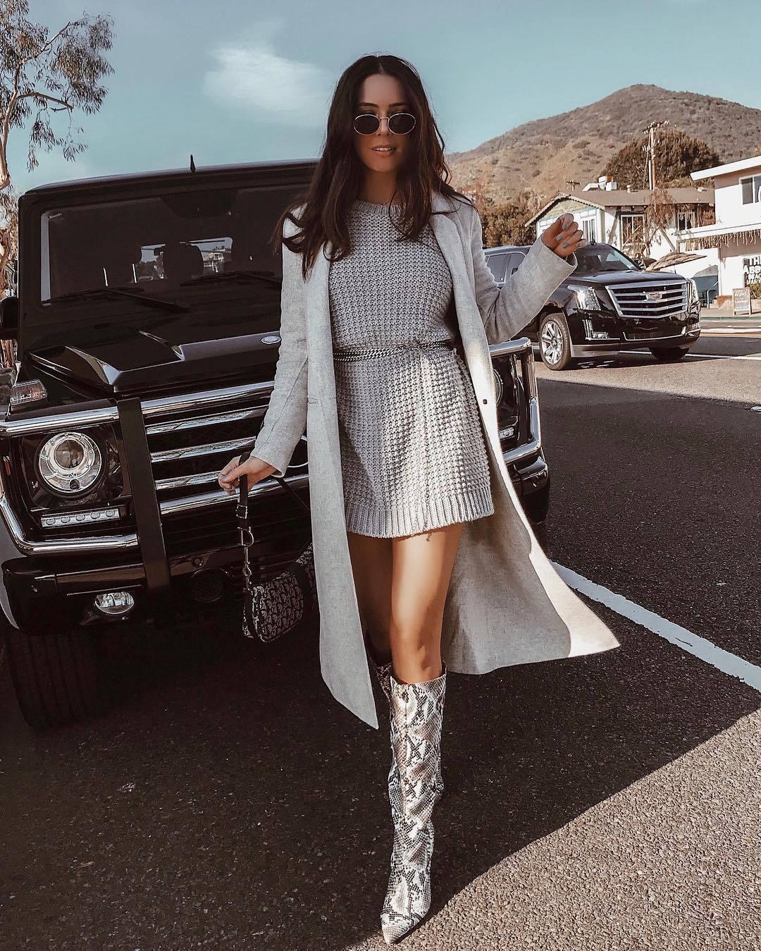 dress sweater dress knitted sweater grey dress grey coat long coat shoulder bag snake print knee high boots