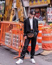 pants,black leather pants,straight pants,high waisted pants,white sneakers,louis vuitton bag,black blazer,white t-shirt