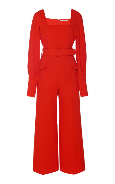 Emilia Wickstead Patrice Belted Stretch-Cady Jumpsuit Size: 6 in orange