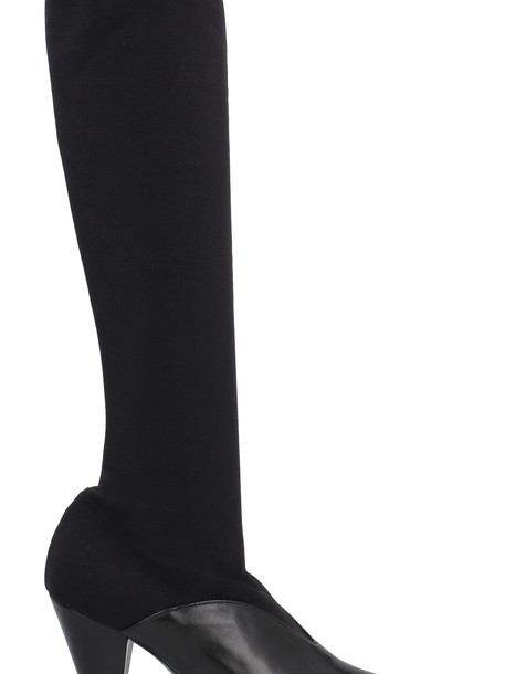 Prada Knitted Pointy-toe Knee Boots in black