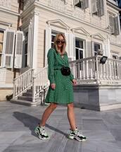 dress,plaid dress,midi dress,polka dots,long sleeve dress,sneakers,black bag,belt bag