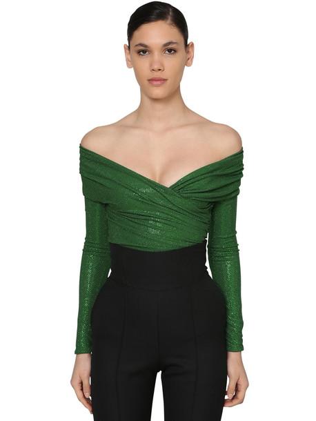 ALEXANDRE VAUTHIER Embellished Off Shoulder Jersey Bodysuit in green