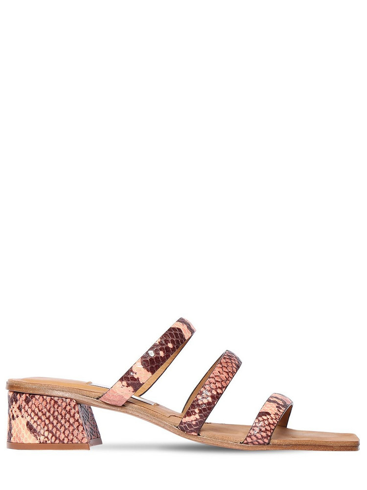 MIISTA 40mm Lynley Snake Print Leather Sandals in pink