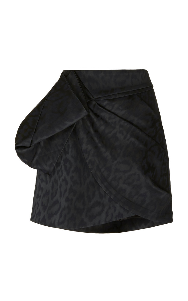 Acler Tomsey Pleated Leopard-Jacquard Mini Skirt in black