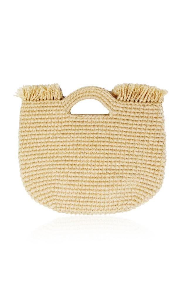 Sensi Studio Wool-Trimmed Straw Handle Bag in neutral