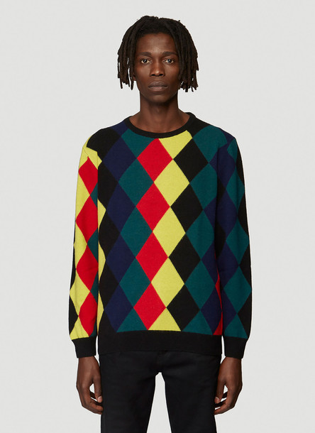 Pringle of Scotland Harlequin Argyle Sweater in Black size M