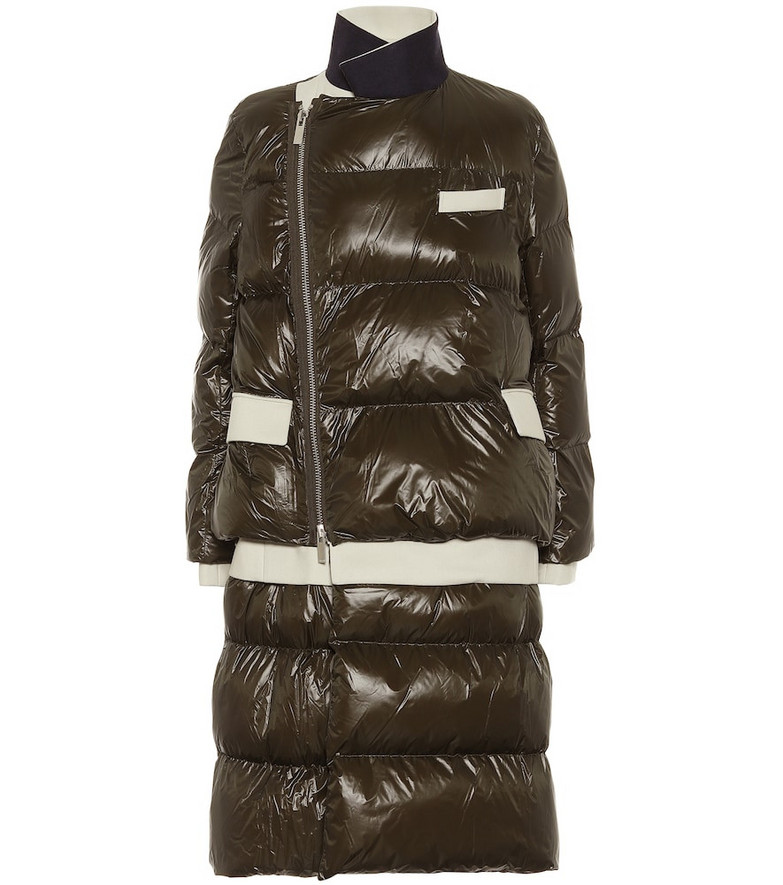Sacai Quilted puffer coat in green