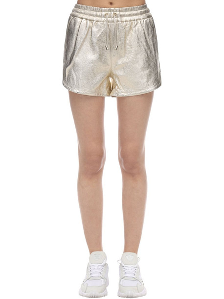 COCO CLOUDE Metallic Leather Shorts in gold